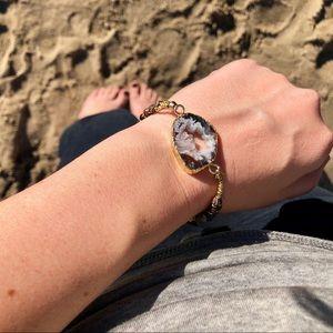 Jewelry - Gold Druzy Agate Bracelet Labradorite Beads